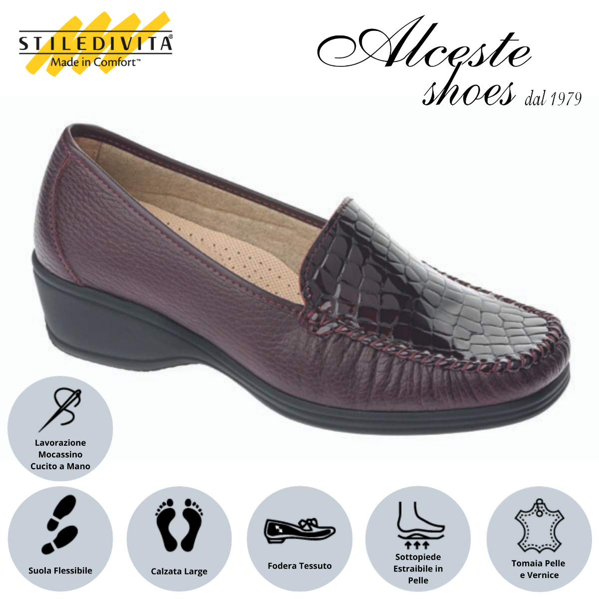 Mocassino Stiledivita art. 2377 bordò