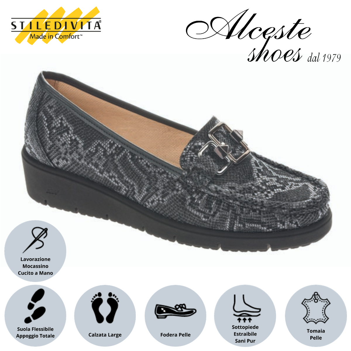 Mocassino Stiledivita art. 7486 iguana antracite