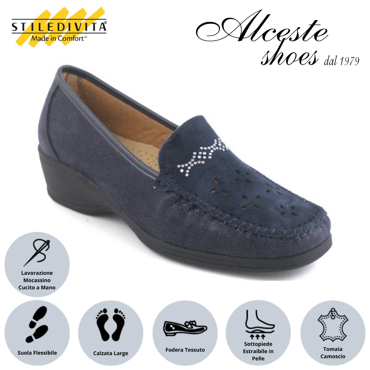 Mocassino Traforato Stiledivita Art. 7368 Camoscio e Camoscio Stampato Blu Alceste Shoes 10 1