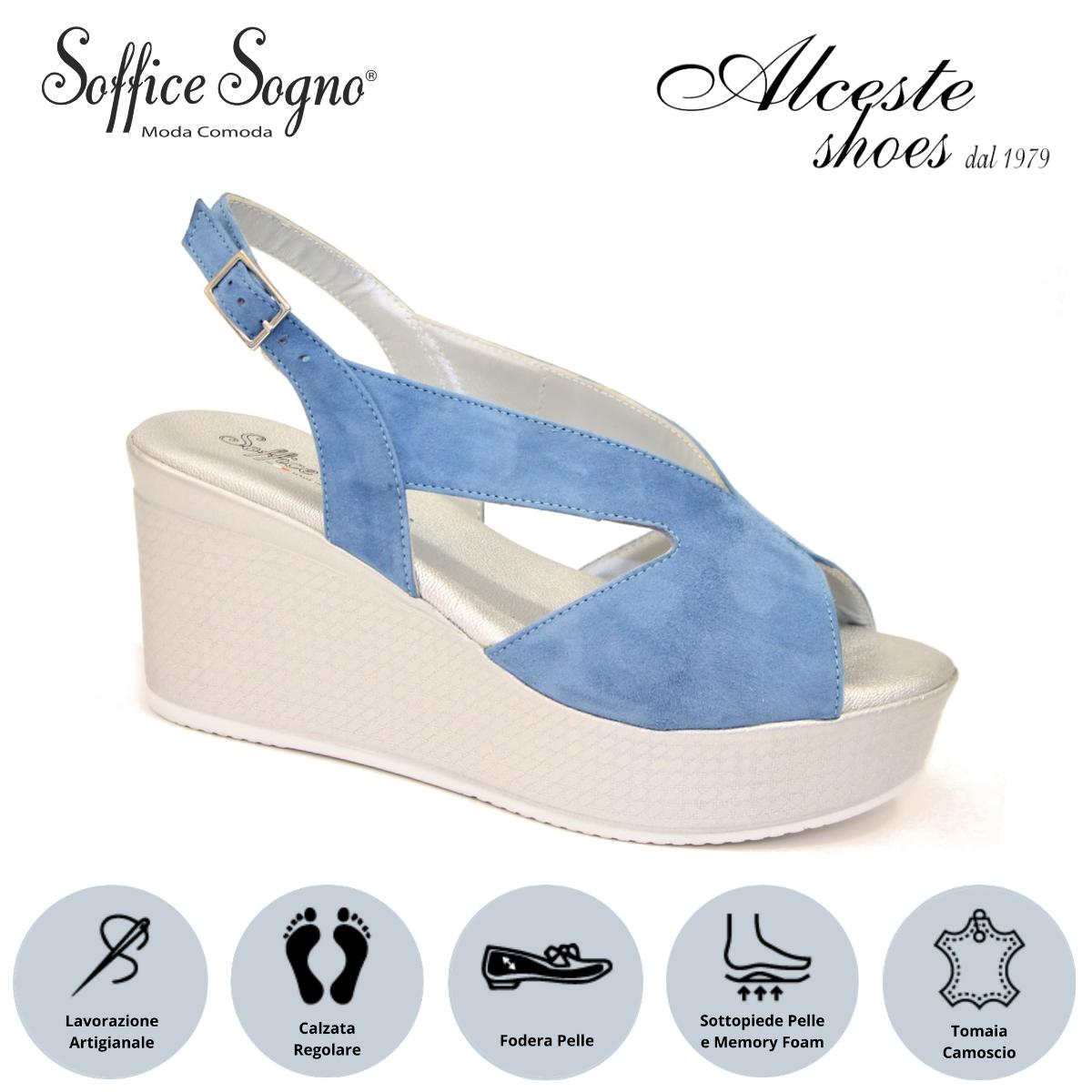 """Sandalo con Zeppa """"Soffice Sogno"""" Art. 1023 Camoscio Azzurro Alceste Shoes 10 2"""