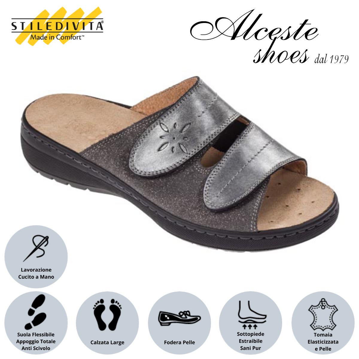Ciabatta con Strappi Stiledivita Art. 4854 Pelle e Camoscio Stampato Antracite Alceste Shoes 10