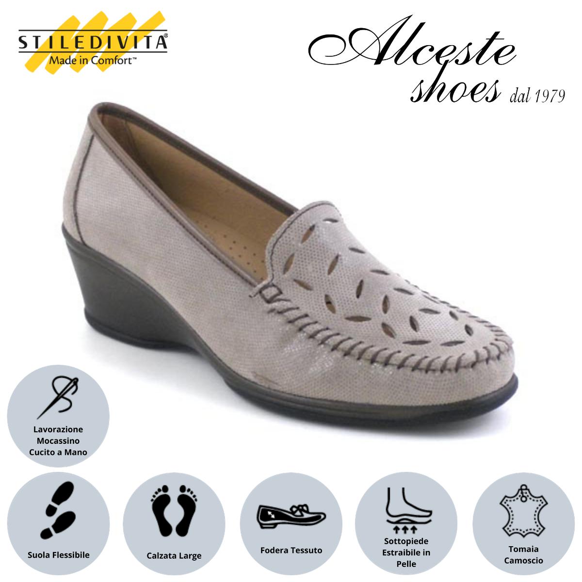 Mocassino Traforato Stiledivita Art. 2931 Camoscio Stampato Taupe Alceste Shoes 11 1