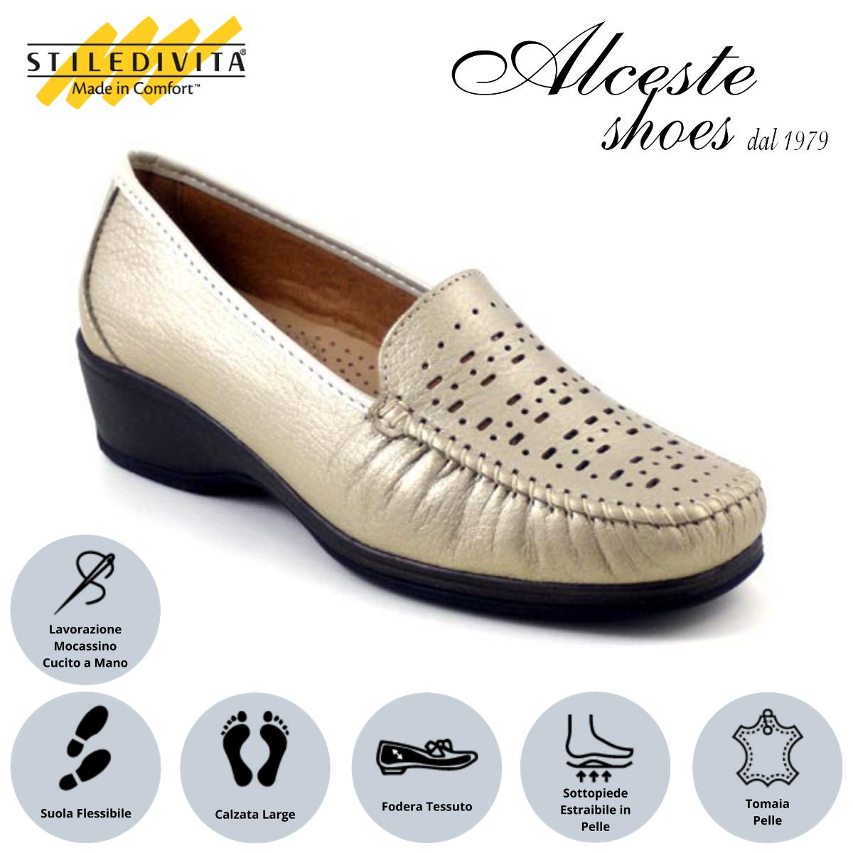 Mocassino Traforato Stiledivita Art. 2528 Pelle Pietra Alceste Shoes 12 1