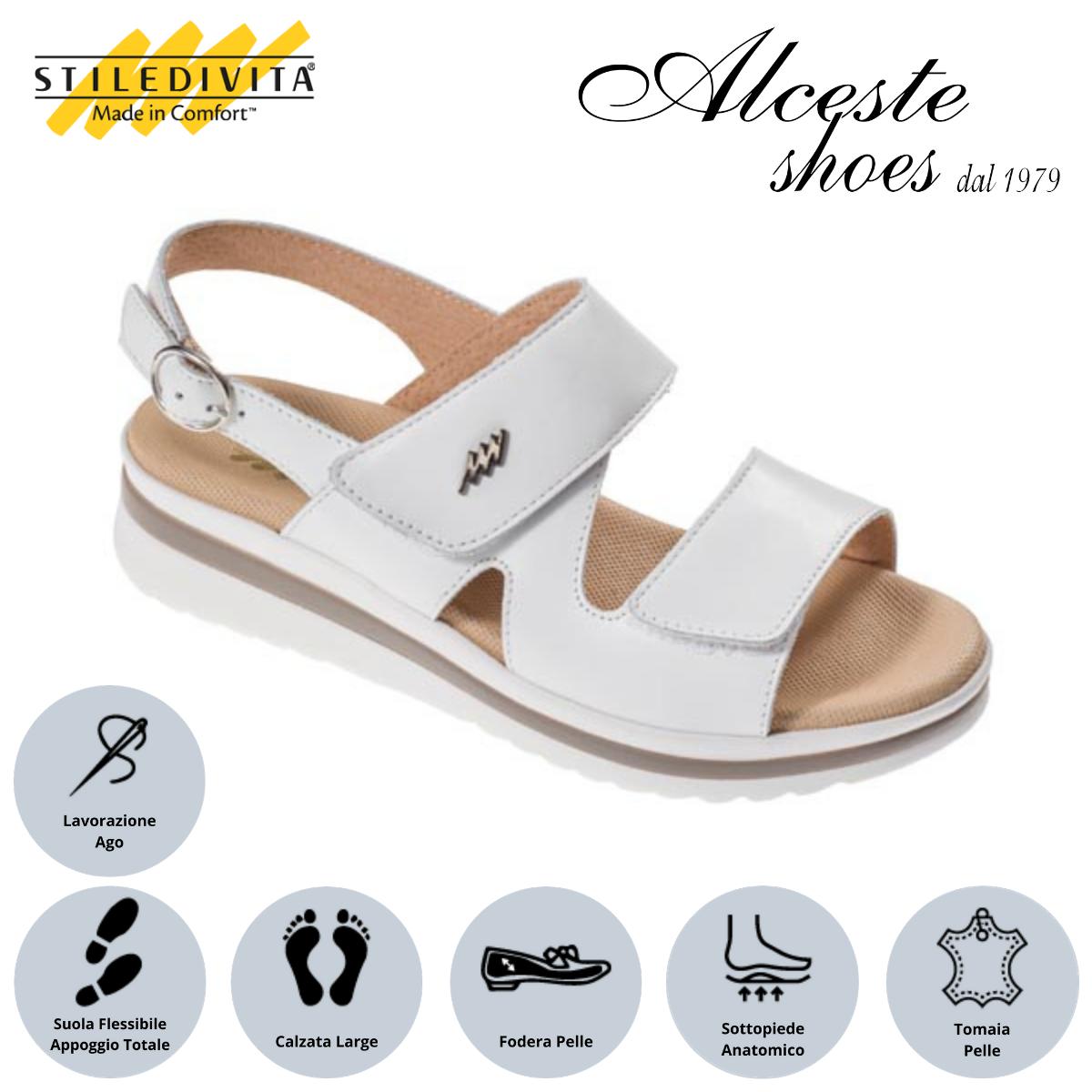 Sandalo con Strappi Stiledivita Art. 8399 Pelle Bianco Alceste Shoes 12