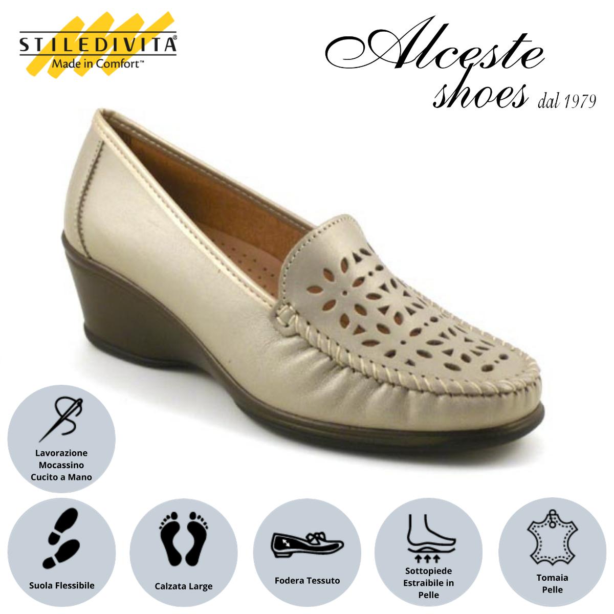 Mocassino Traforato Stiledivita Art. 2660 Pelle Pietra Perlato Alceste Shoes 13 1
