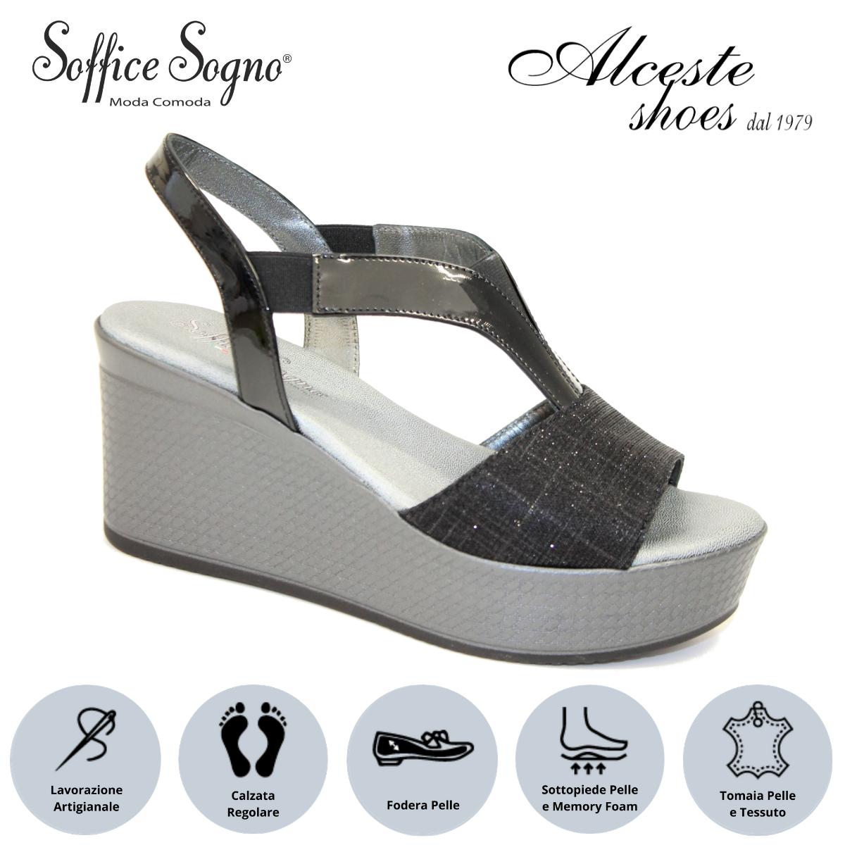 """Sandalo con Zeppa """"Soffice Sogno"""" Art. 1020 Vernice e Tessuto Nero Alceste Shoes 13 2"""