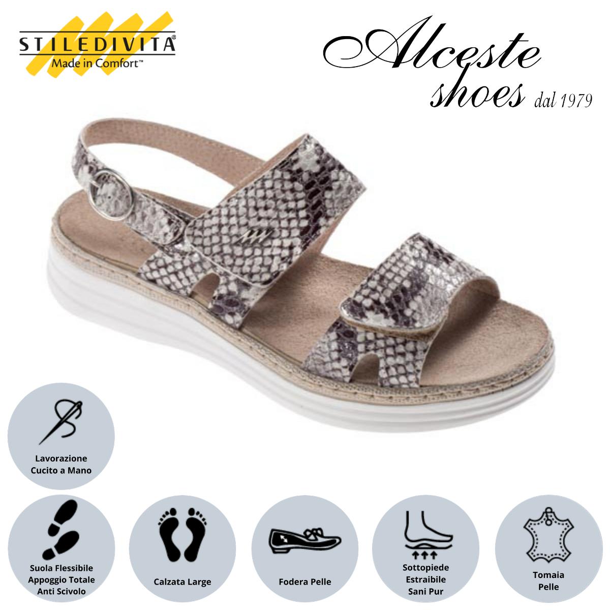 Sandalo con Strappi Stiledivita Art. 8242 Pelle Stampato Roccia Alceste Shoes 13