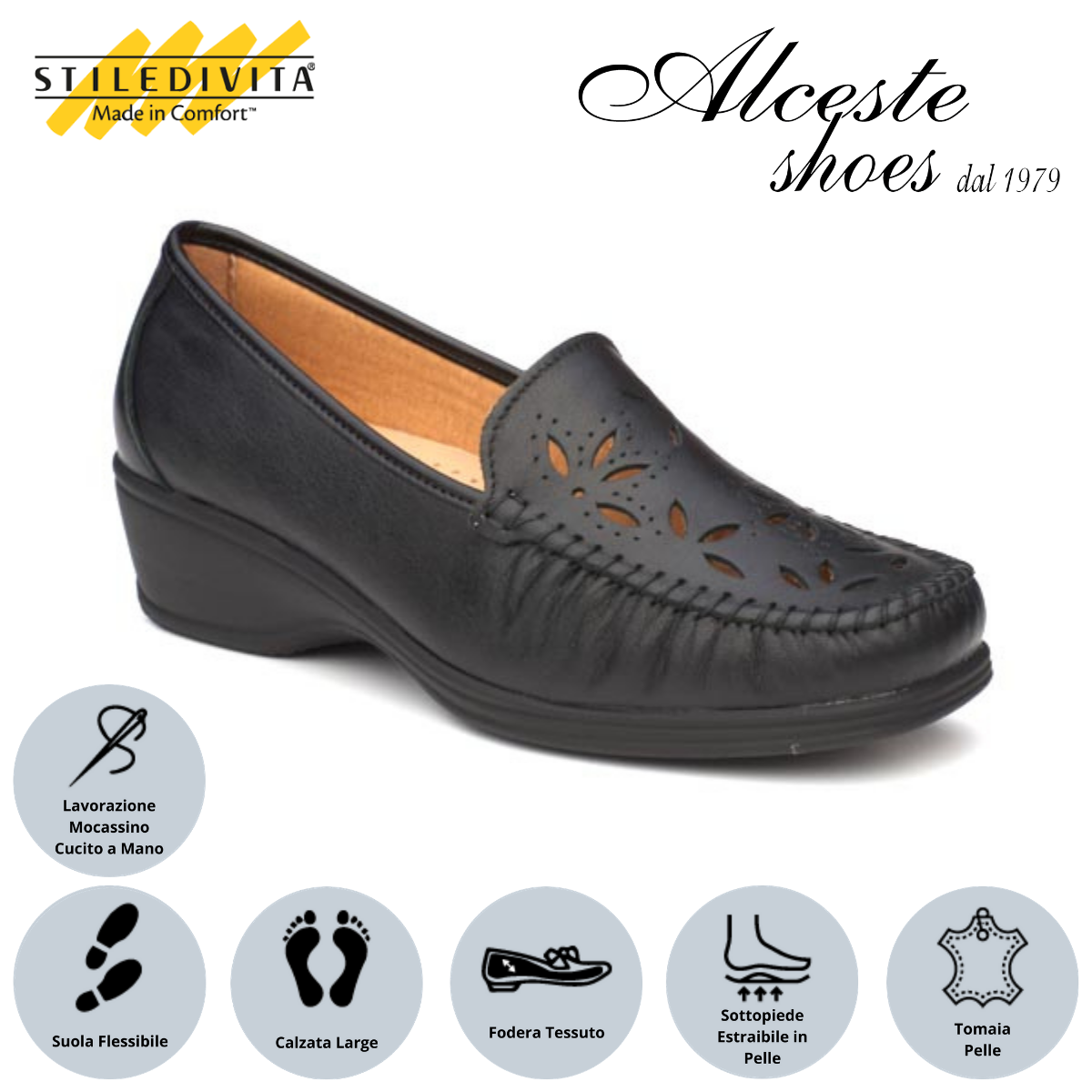 Mocassino Traforato Stiledivita Art. 2430 Pelle Nero Alceste Shoes 13 1
