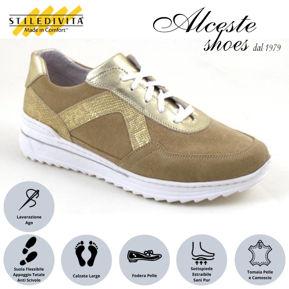 Sneakers Traforate Stiledivita Art. 7442 Camoscio Beige e Pelle Platino Alceste Shoes 14 1