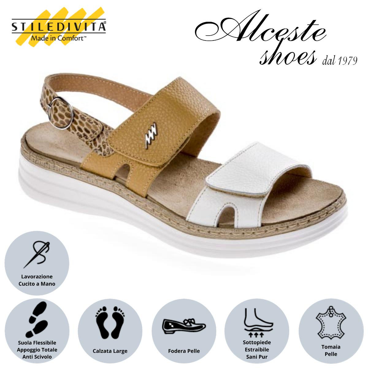 Sandalo con Strappi e Sottopiede Estraibile Stiledivita Art. 8242 Pelle Bianco e Safari Alceste Shoes 14