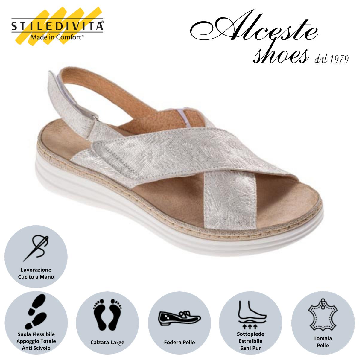Sandalo Stiledivita Art. 8233 Camoscio Stampato Bianco Alceste Shoes 15