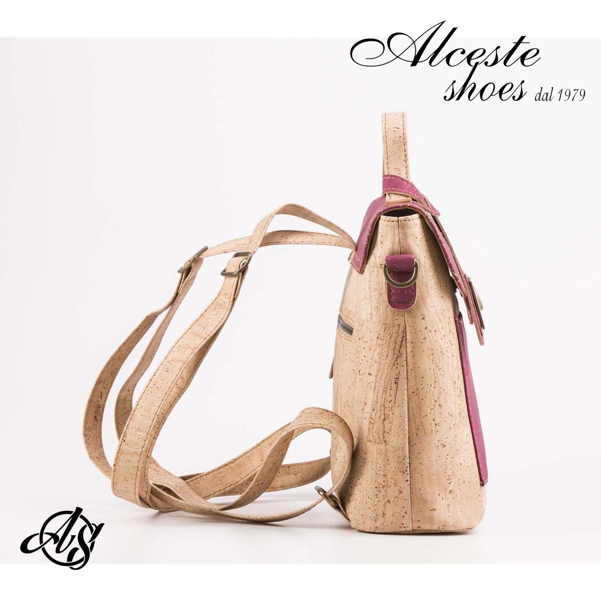 Zainetto in Sughero Beige e Fuxia 100% Vegan Alceste Shoes 16 1