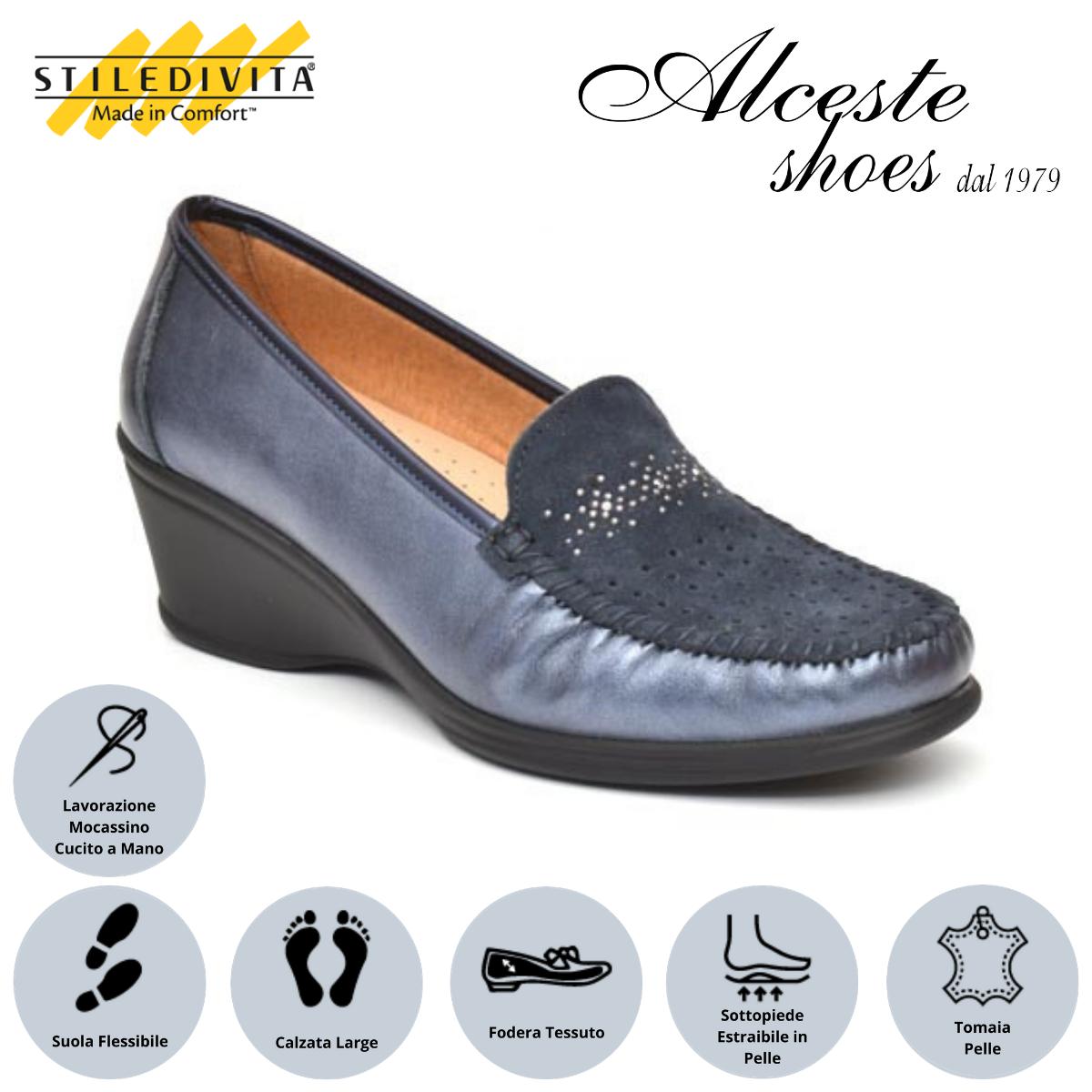 Mocassino Traforato Stiledivita Art. 7374 Pelle e Camoscio Blu Alceste Shoes 17 1