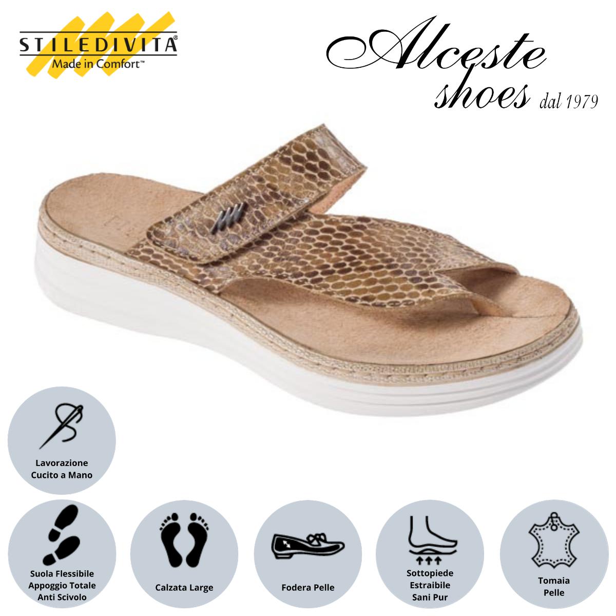 Infradito Sottopiede Estraibile Stiledivita Art. 8442 Pelle Stampata Beige Alceste Shoes 17
