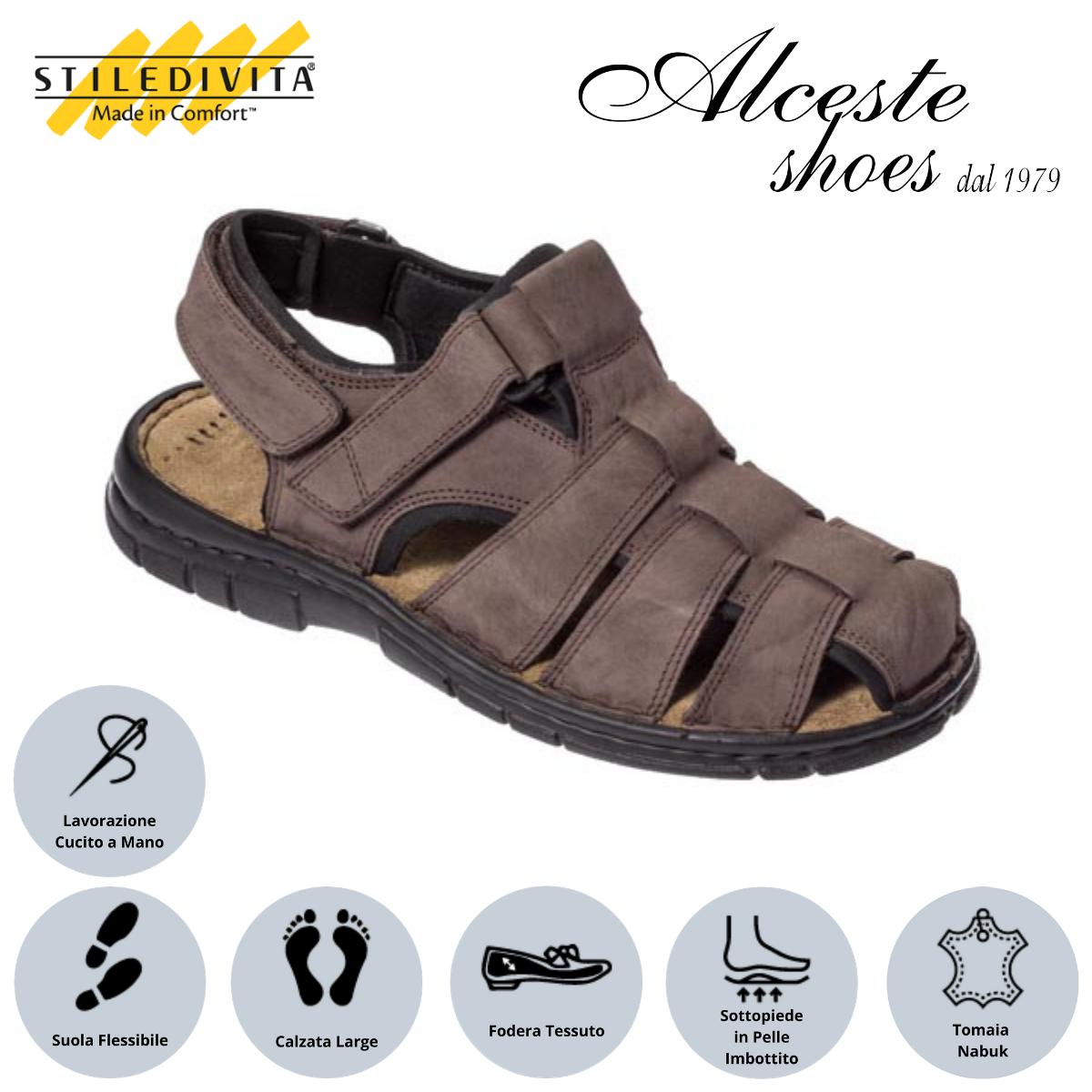 Sandalo Uomo con Strappi Stiledivita Art. 7880 Nabuk T. di Moro Alceste Shoes 18