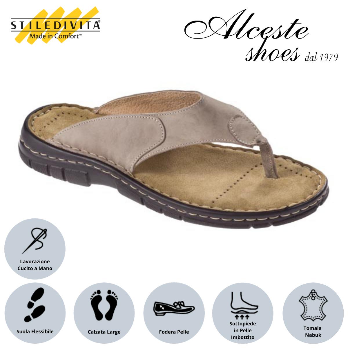 Infradito Uomo Stiledivita Art. 7881 Nabuk Avana Alceste Shoes 19