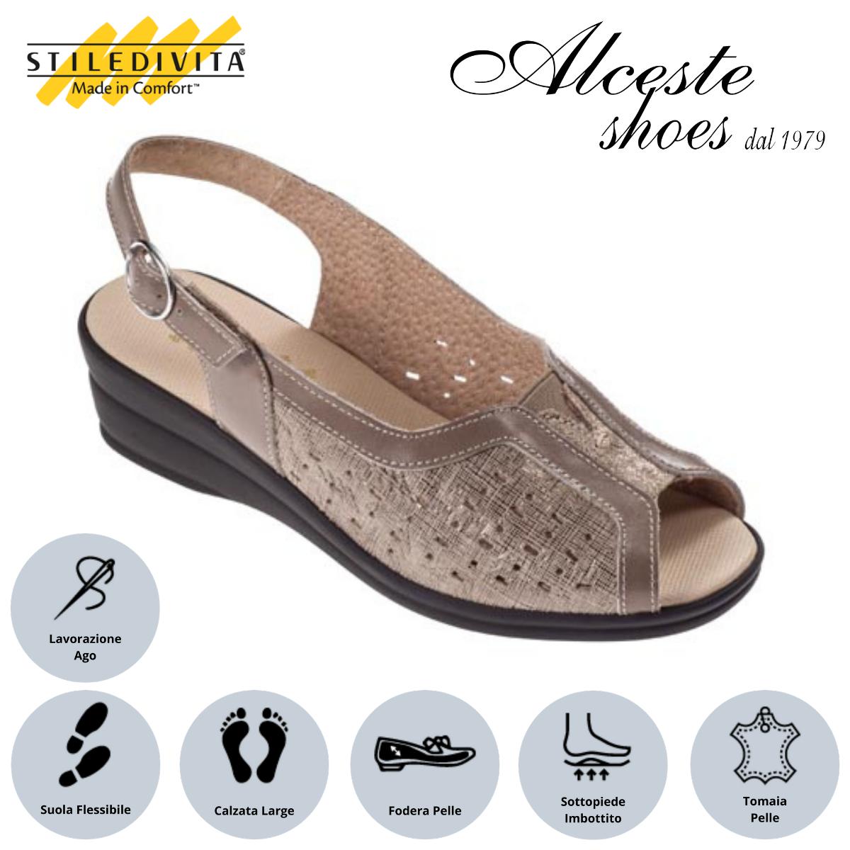 Sandalo Traforato Stiledivita Art. 4938 Camoscio e Pelle Taupe Alceste Shoes 2