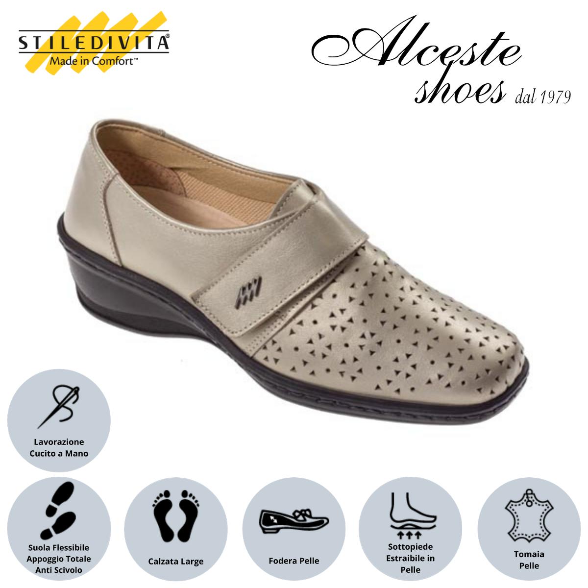 Scarpa Traforata con Strappo Stiledivita Art. 7144 Pelle Pietra Perlato Alceste Shoes 20