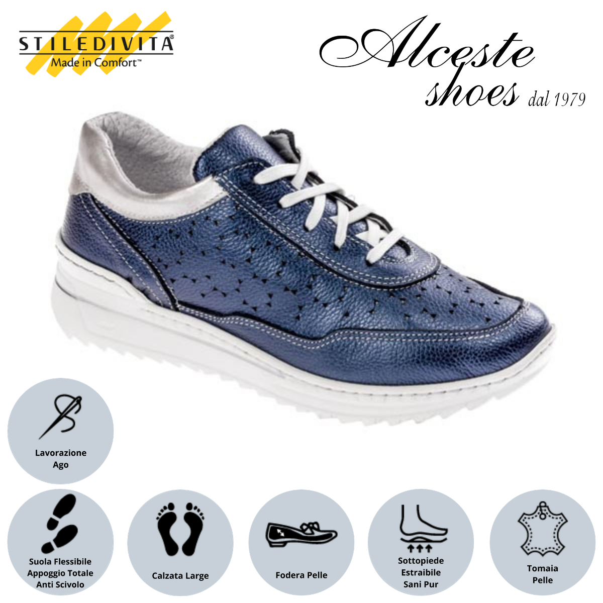 Sneakers Traforate Stiledivita Art. 7442 Pelle Blu e Argento Alceste Shoes 22