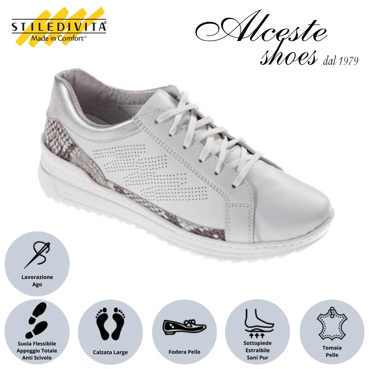 Sneakers Traforate Stiledivita Art. 7443 Pelle Bianco e Stampa Pitone Roccia Alceste Shoes 23