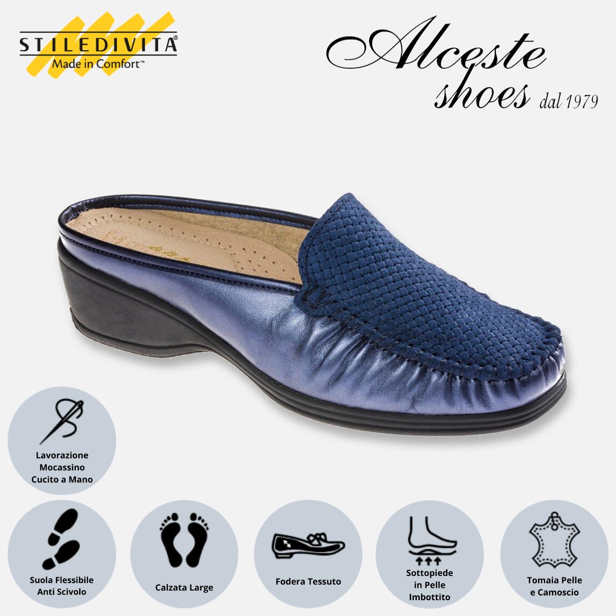 Sabò Stiledivita Art. 2308 Perlato Blu Alceste Shoes 2308 Blu