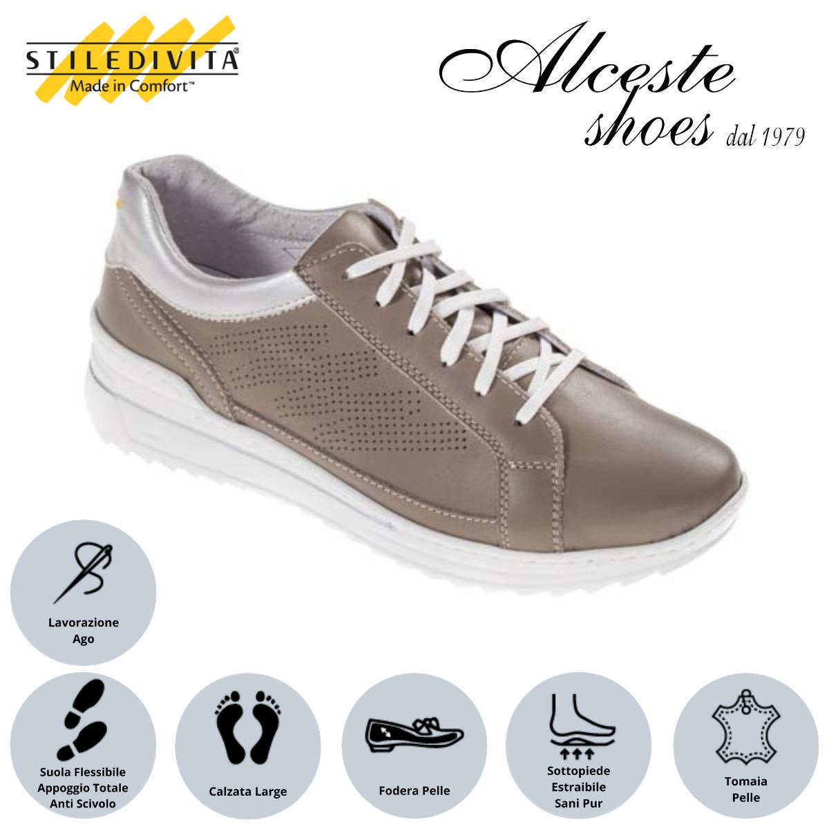 Sneakers Traforate Stiledivita Art. 7443 Pelle Taupe e Argento Alceste Shoes 24