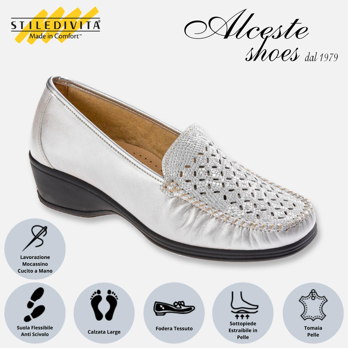 Mocassino Traforato Stiledivita Art. 2789 Perlato Argento Alceste Shoes 2789 Argento
