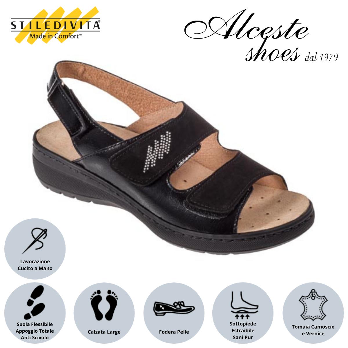 Sandalo con Strappi Stiledivita Art. 8228 Vernice e Camoscio Nero Alceste Shoes 3