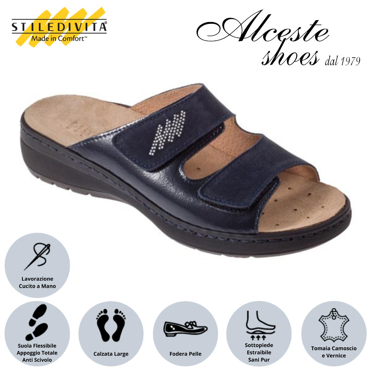 Ciabatta con Strappi e Sottopiede Estraibile Stiledivita Art. 8226 Vernice e Camoscio Blu Alceste Shoes 4