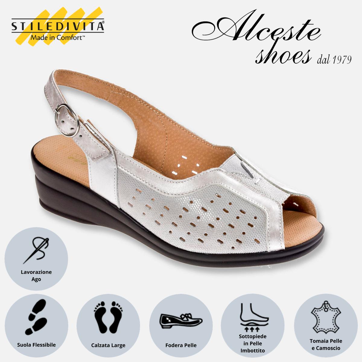 Sandalo Traforato Stiledivita Art. 4938 Camoscio e Pelle Argento Alceste Shoes 4938 Argento