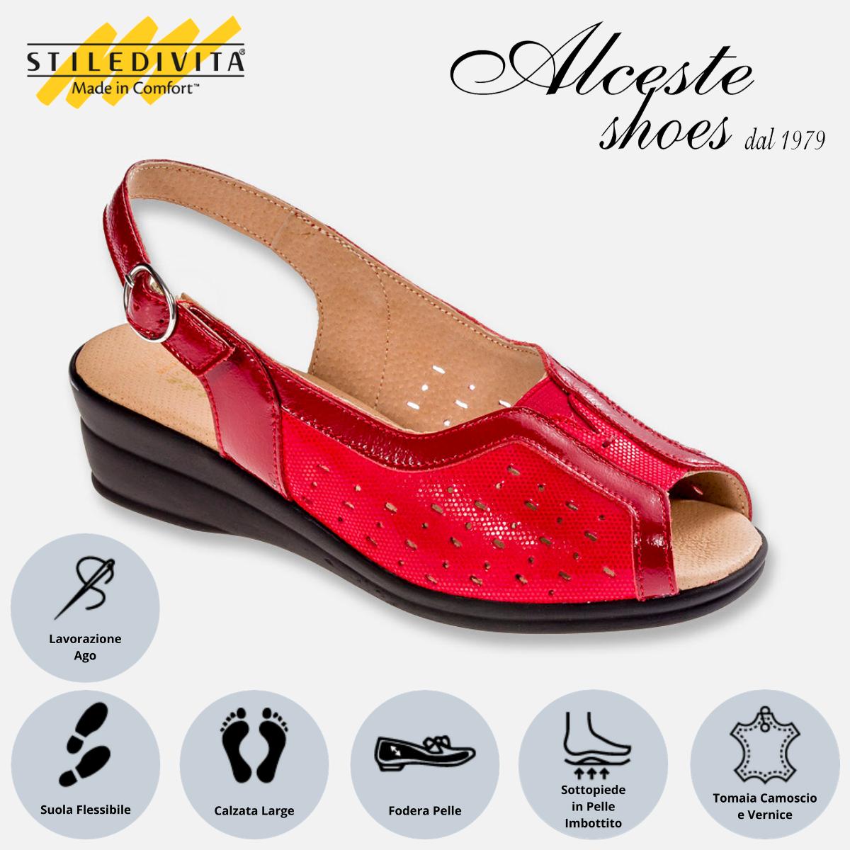 Sandalo Traforato Stiledivita Art. 4938 Camoscio e Vernice Rosso Alceste Shoes 4938 Rosso