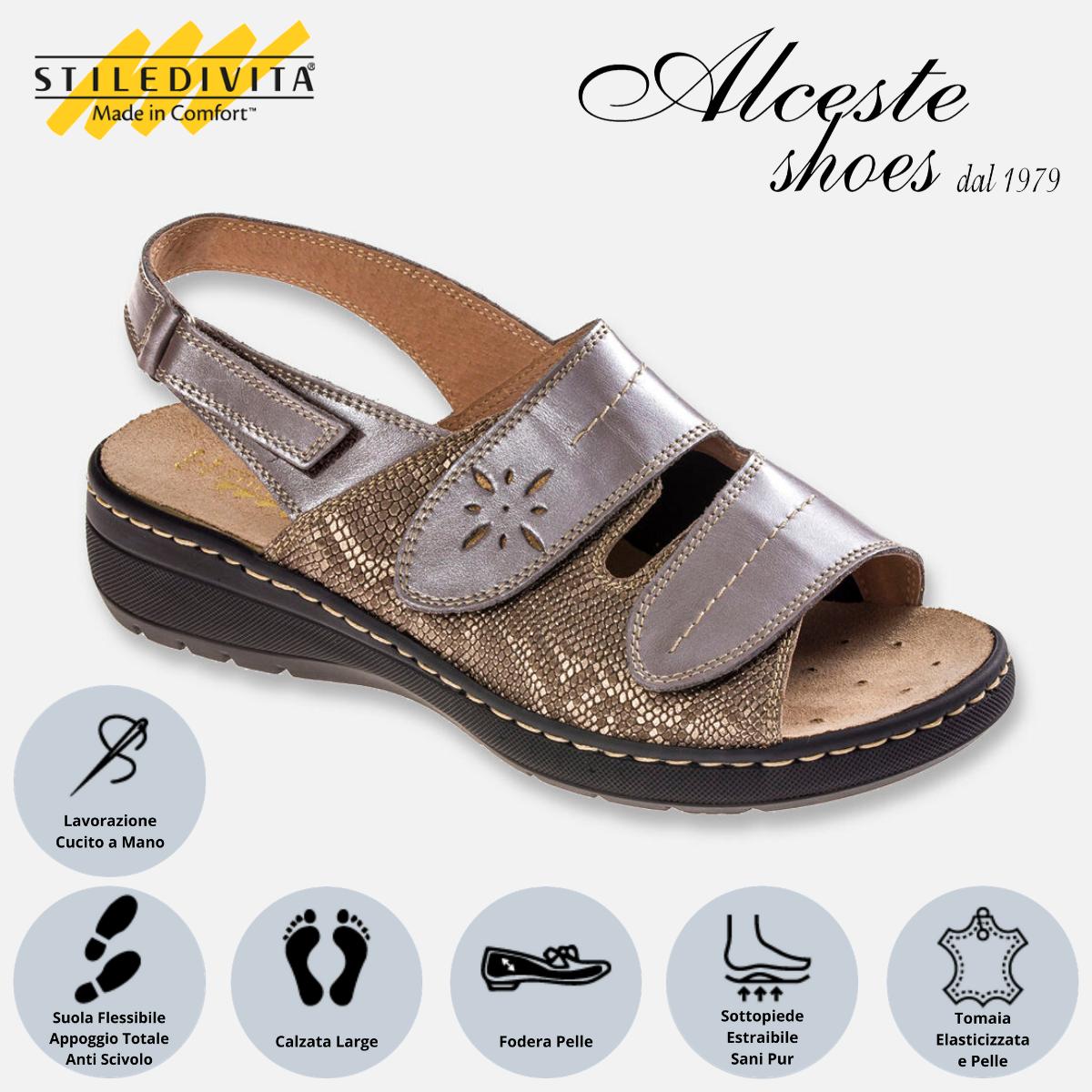 Sandalo con Strappi Stiledivita Art. 4987 Pelle e Pelle Stampata Taupe Alceste Shoes 4987 Taupe