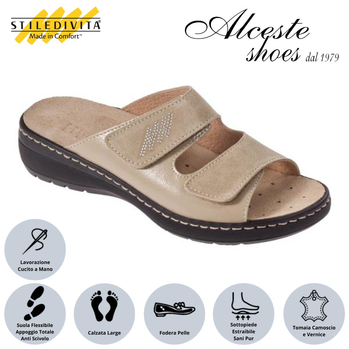 Ciabatta con Strappi e Sottopiede Estraibile Stiledivita Art. 8226 Vernice e Camoscio Beige Alceste Shoes 5