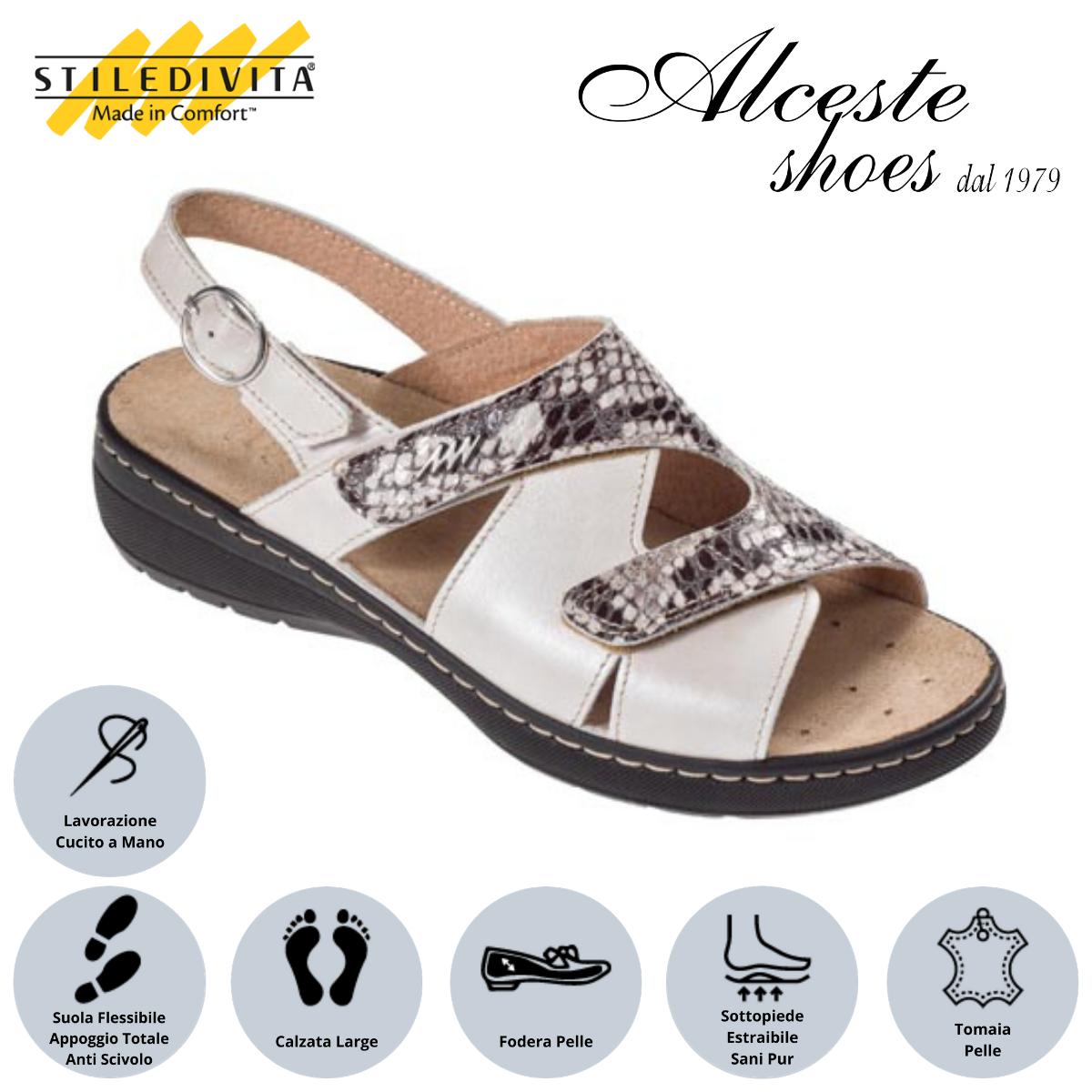 Sandalo con Strappi Stiledivita Art. 8195 Pelle Cipria e Pelle Stampata Roccia Alceste Shoes 6