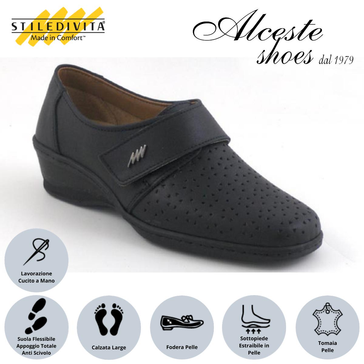 Scarpa Traforata con Strappo Stiledivita Art. 7144 Pelle Nero Alceste Shoes 7 1
