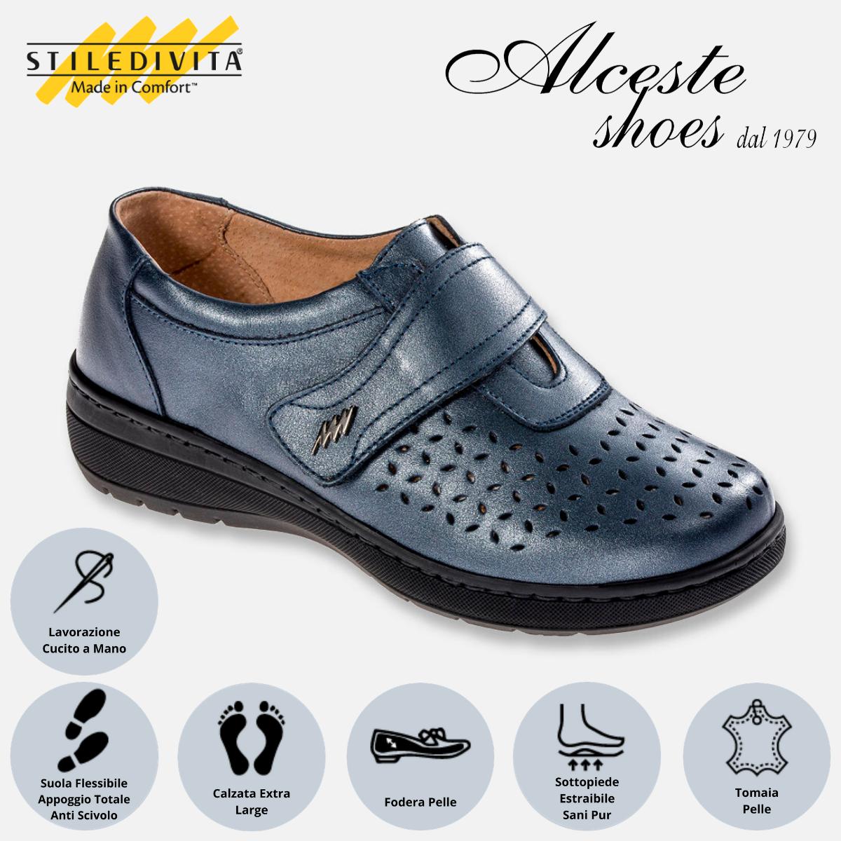 Scarpa Traforata con Strappo Stiledivita Art. 7178 Pelle Blu Perlato Alceste Shoes 7178 Blu