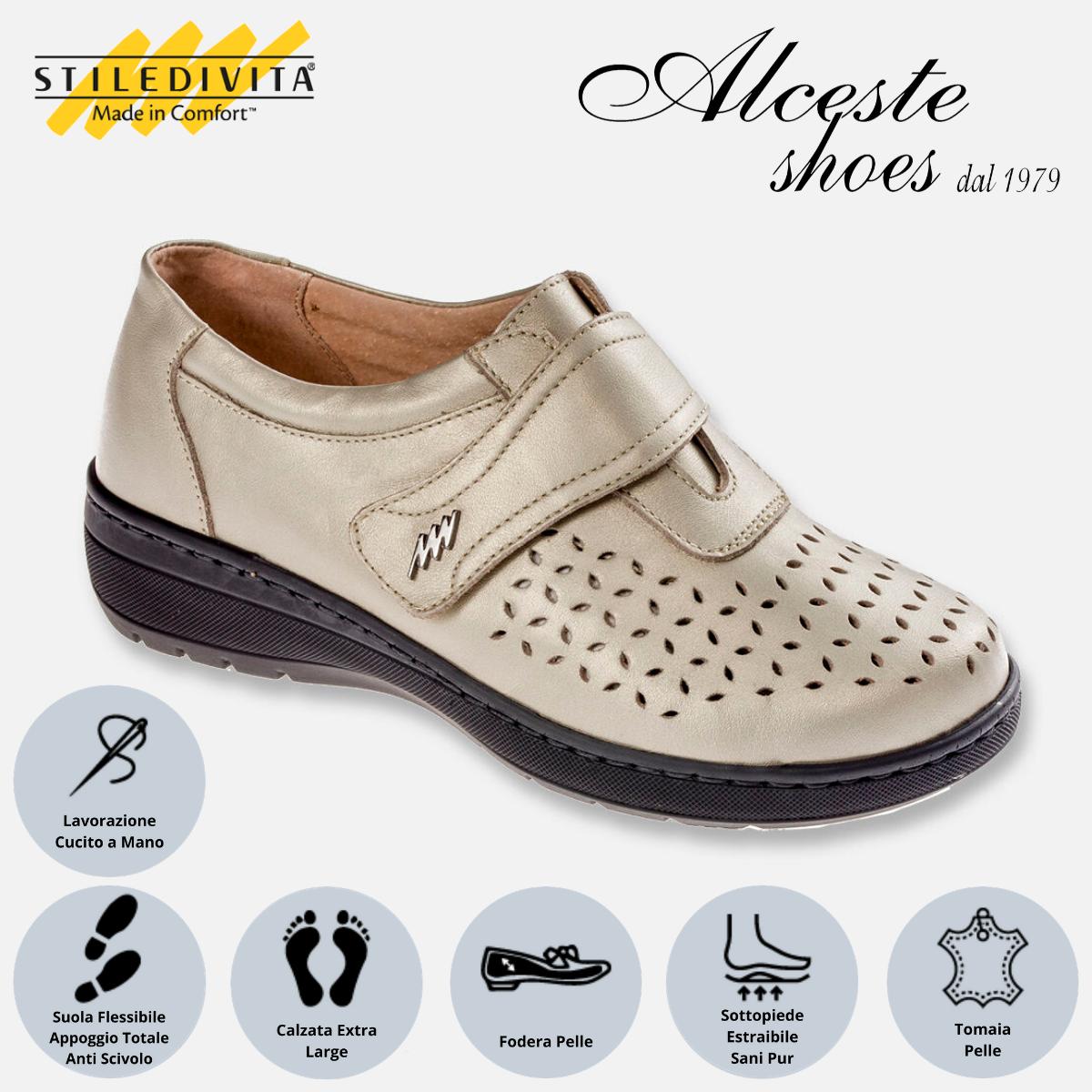 Scarpa Traforata con Strappo Stiledivita Art. 7178 Pelle Pietra Perlato Alceste Shoes 7178 Pietra