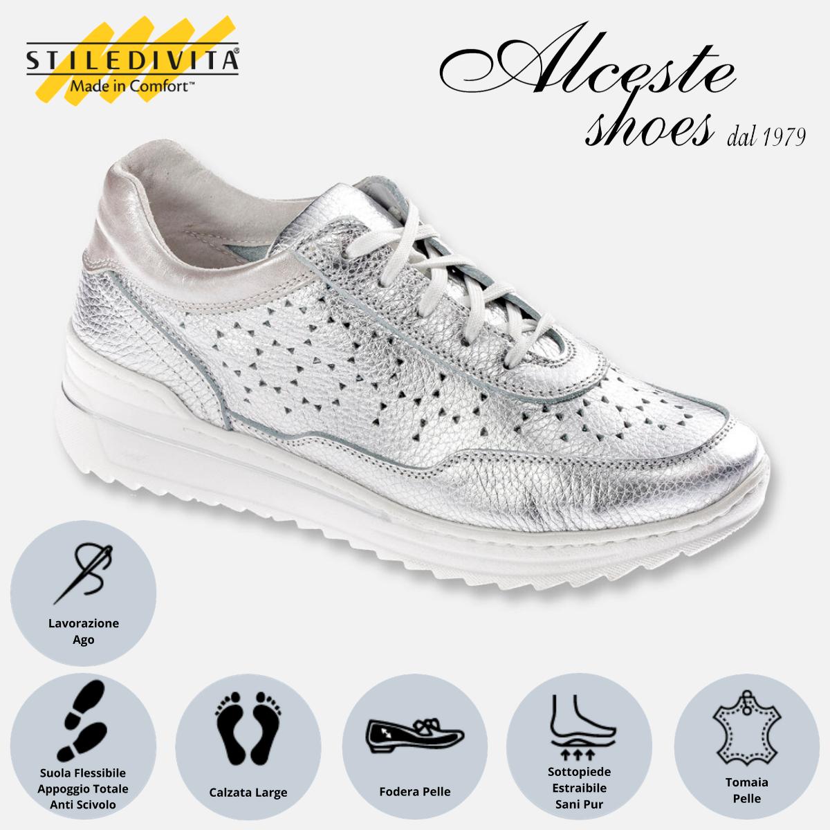 Sneakers Traforate Stiledivita Art. 7442 Pelle Argento Alceste Shoes 7442 Argento
