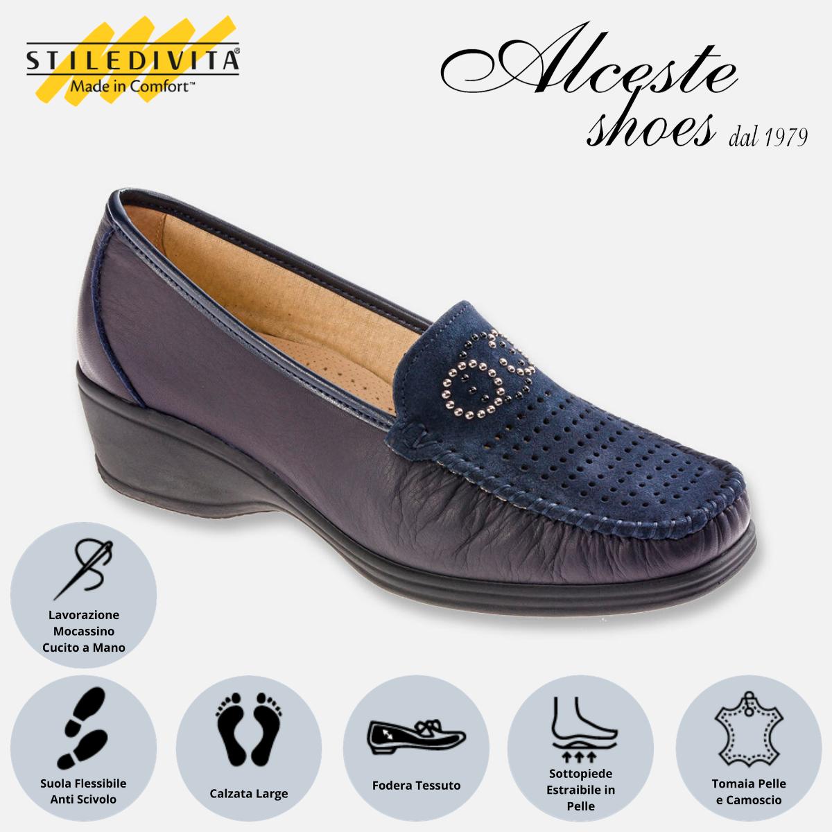 Mocassino Traforato Stiledivita Art. 7445 Pelle e Camoscio Blu Alceste Shoes 7445 Blu