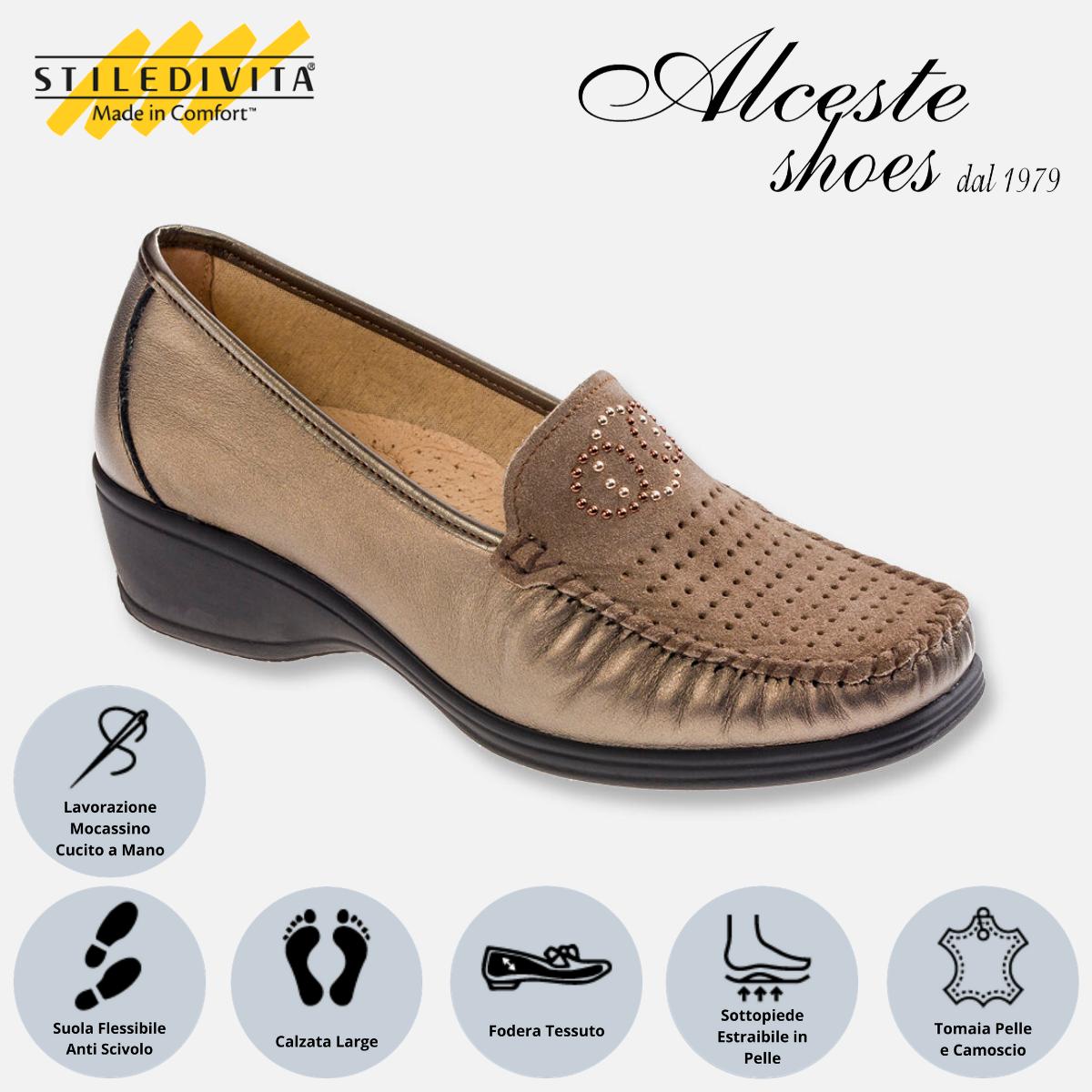 Mocassino Traforato Stiledivita Art. 7445 Pelle Bronzo e Camoscio Taupe Alceste Shoes 7445 Taupe