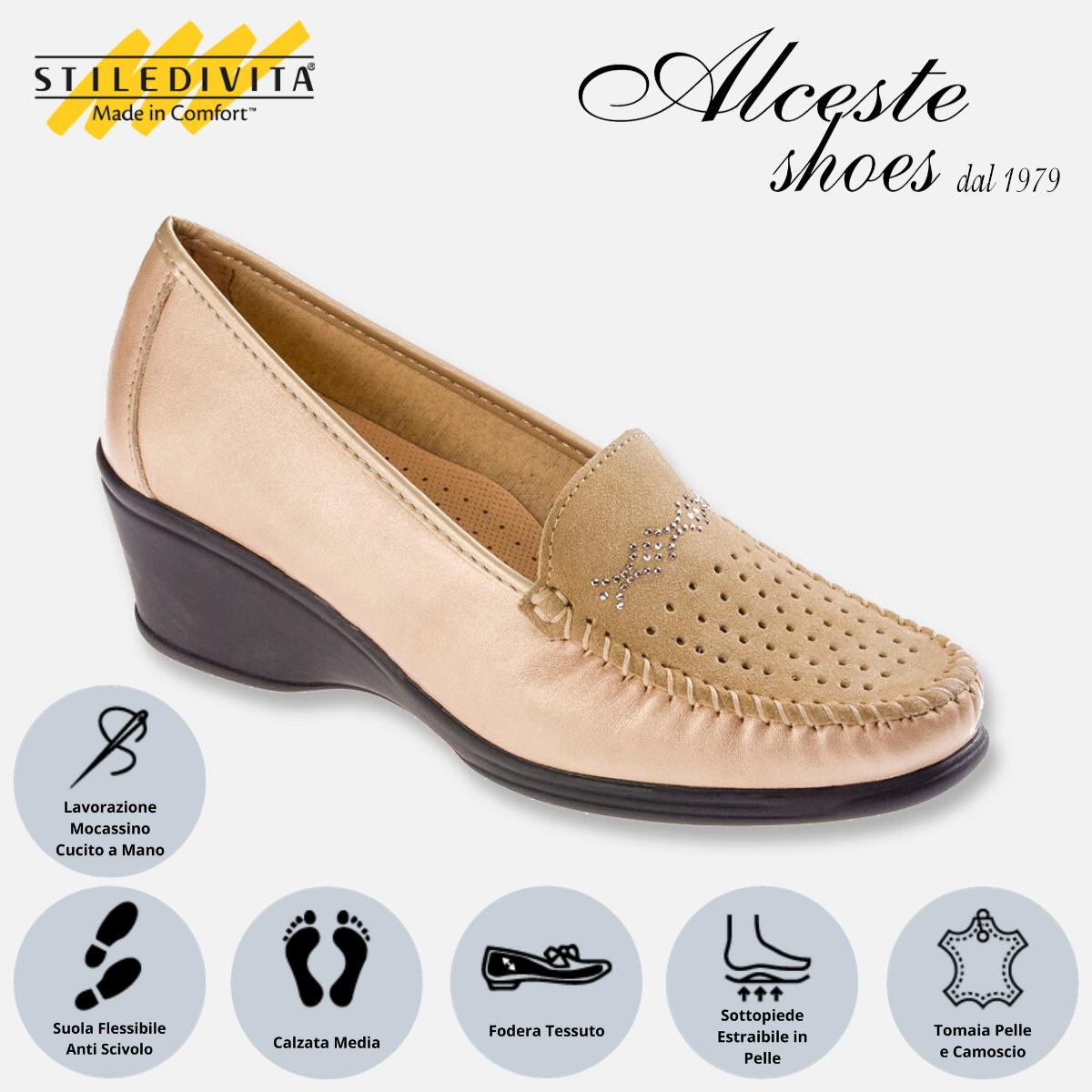Mocassino Traforato Stiledivita Art. 7448 Pelle Pietra e Camoscio Beige Alceste Shoes 7448 Beige