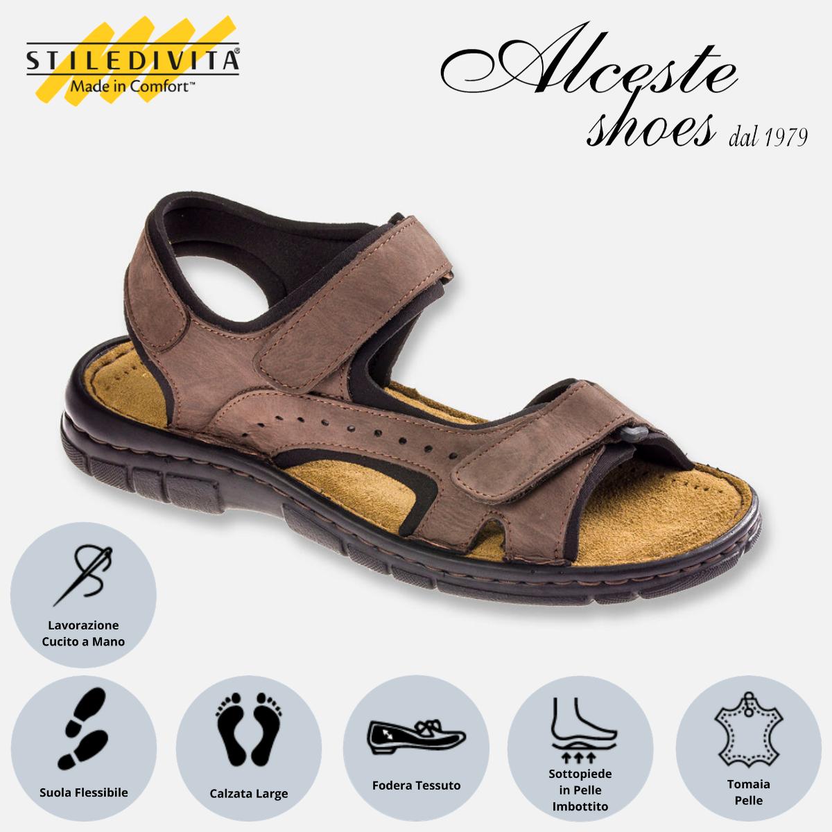 Sandalo Uomo con Strappi Stiledivita Art. 7879 Nabuk T. di Moro Alceste Shoes 7879 Testa di Moro
