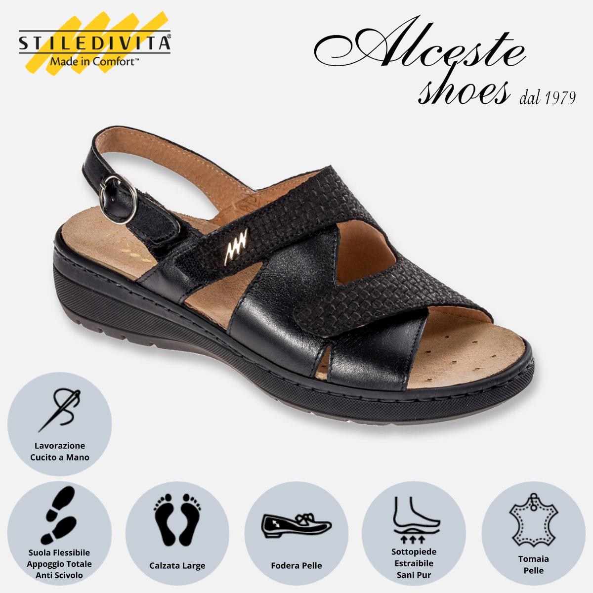 Sandalo con Strappi Stiledivita Art. 8195 Vernice e Camoscio Stampato Nero Alceste Shoes 8195 Nero