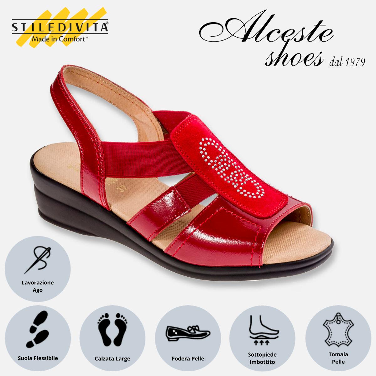 Sandalo Stiledivita Art. 8380 Vernice e Camoscio Rosso Alceste Shoes 8380 Rosso