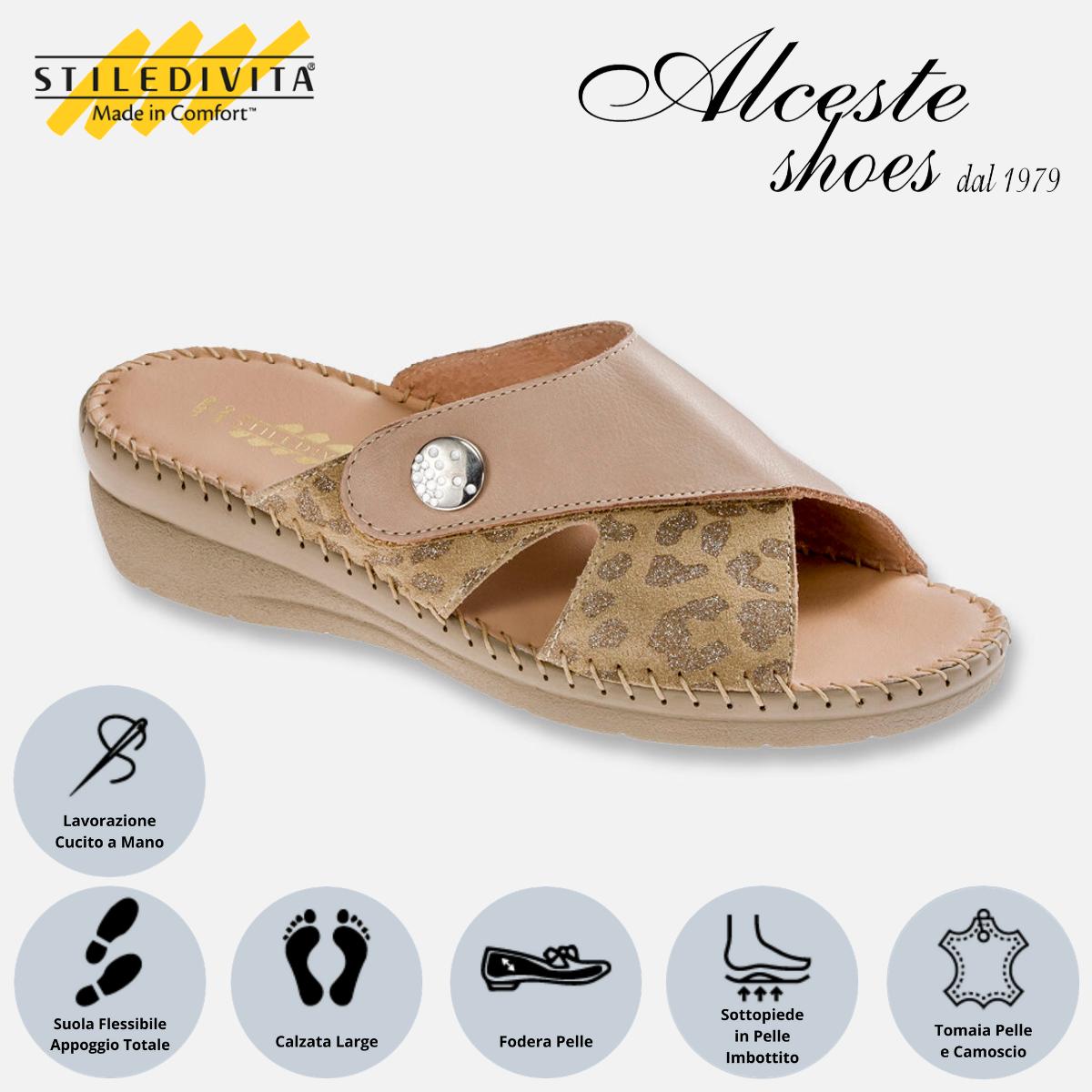 Ciabatta con Strappo Stiledivita Art. 8383 Pelle Corda e Camoscio Stampato Pietra Alceste Shoes 8383 Pietra
