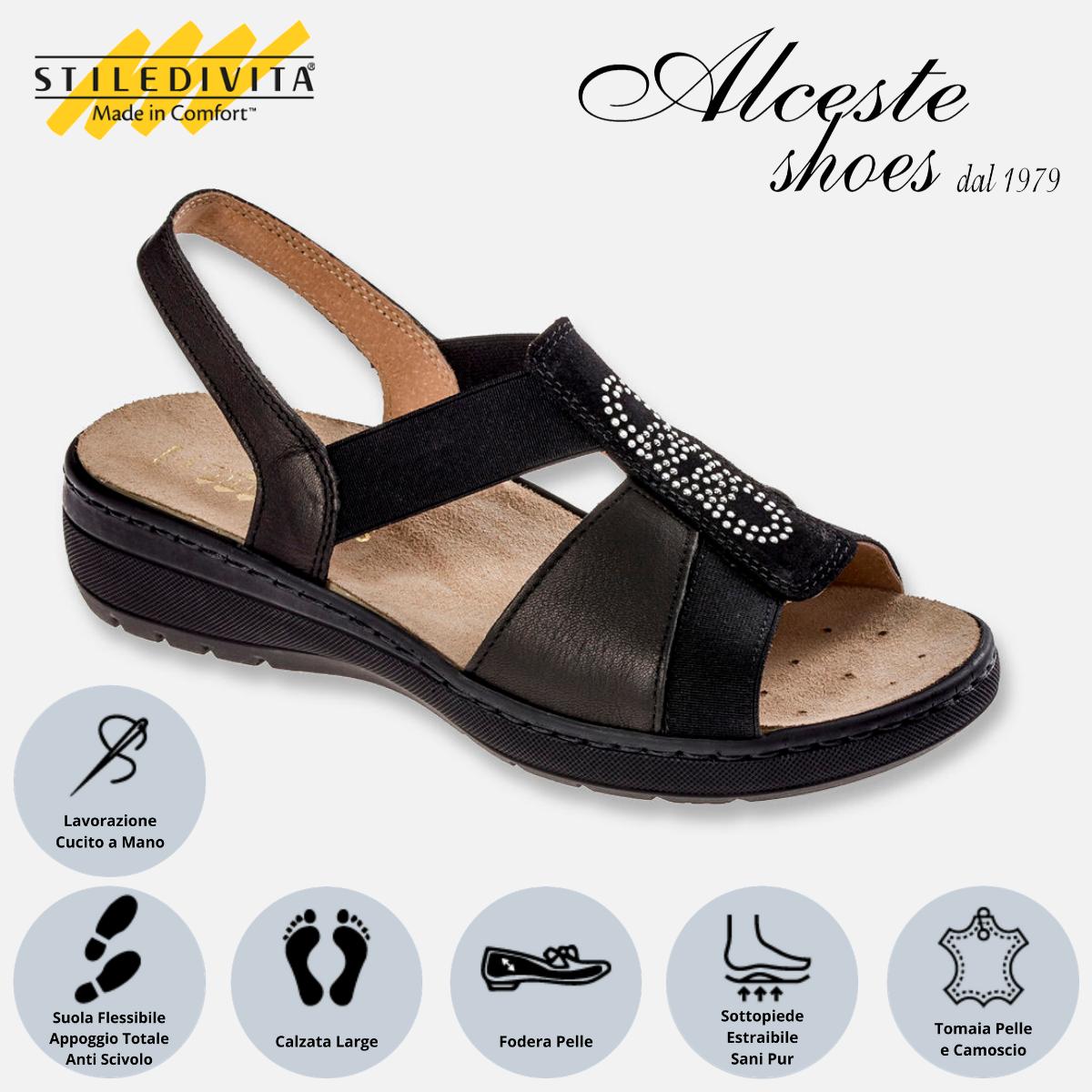 Sandalo con Elastici Stiledivita Art. 8387 Pelle e Camoscio Nero Alceste Shoes 8387 Nero