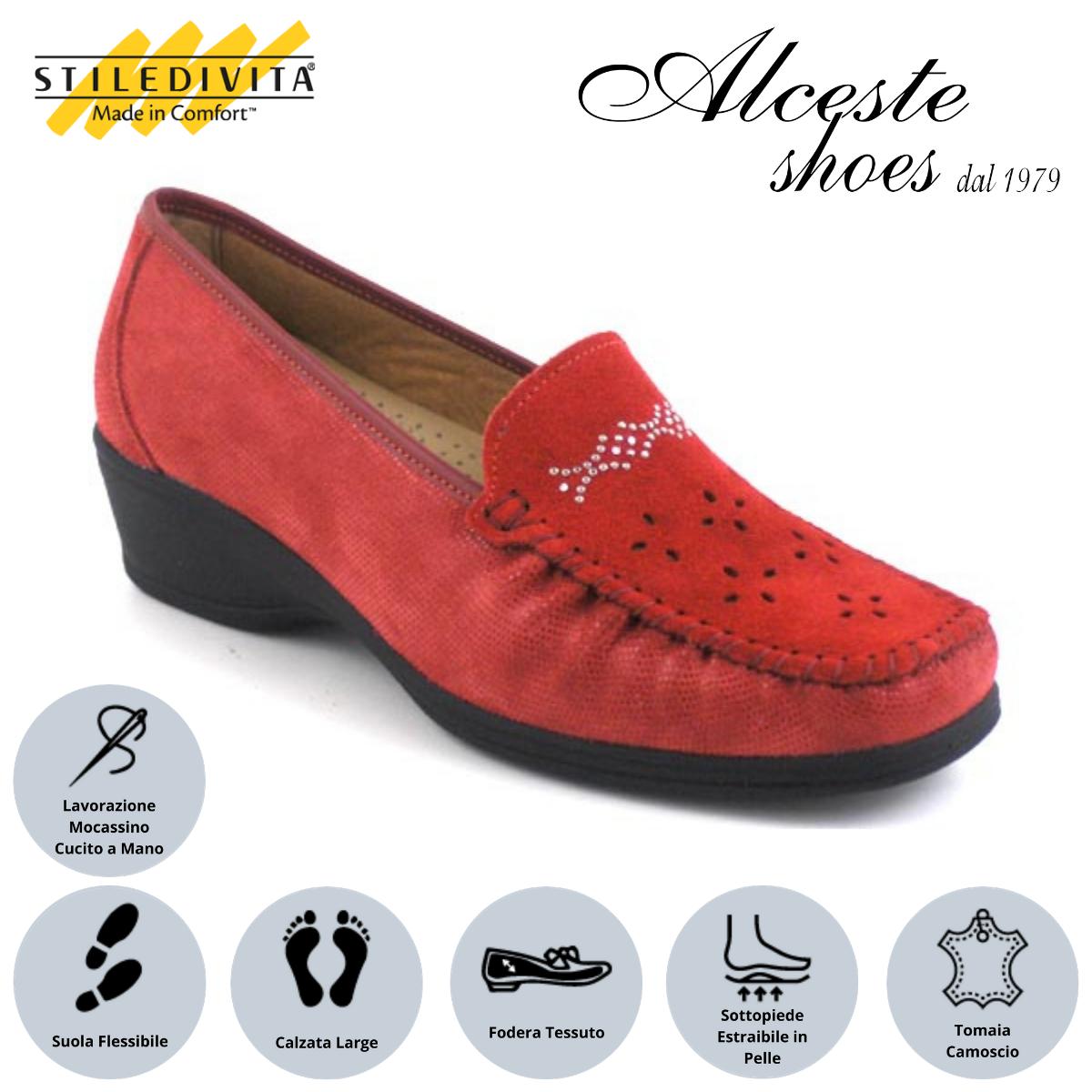 Mocassino Traforato Stiledivita Art. 7368 Camoscio e Camoscio Stampato Rosso Alceste Shoes 9 1