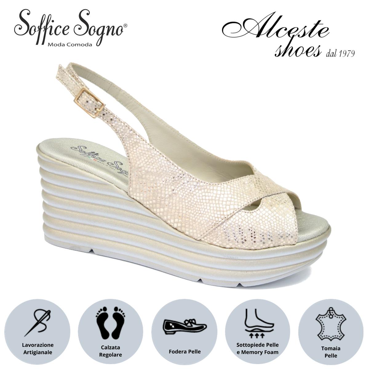 """Sandalo con Zeppa """"Soffice Sogno"""" Art. 1010 Pelle Stampata Platino Alceste Shoes 9 2"""