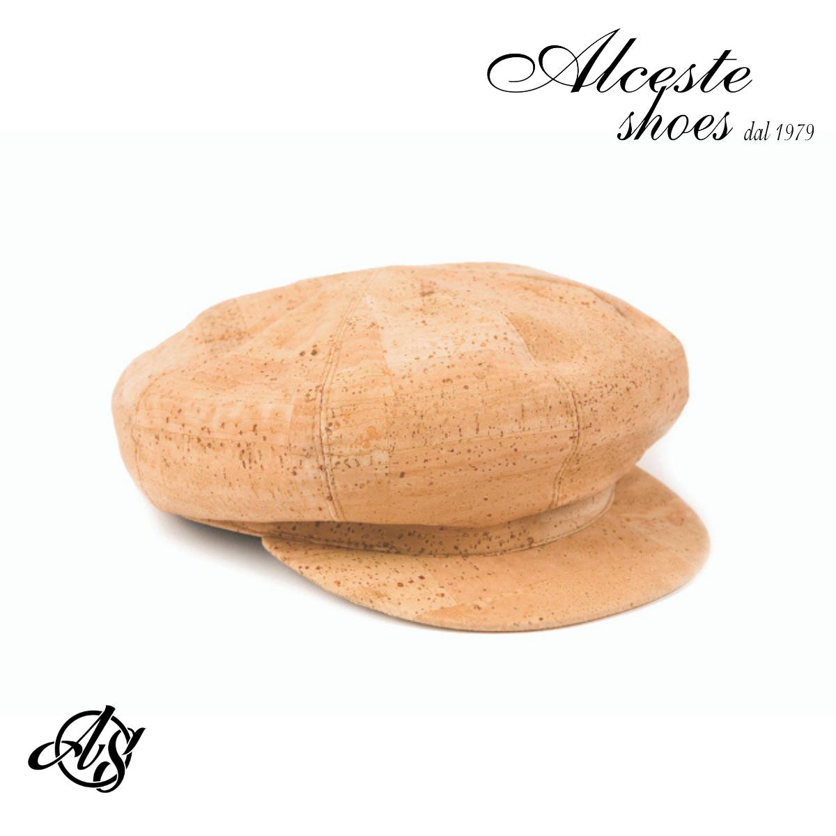 """Cappello Stile """"Ferroviere"""" in Sughero Beige 100% Vegan Alceste Shoes Borse e Pelletteria Sughero per SHOP 3"""