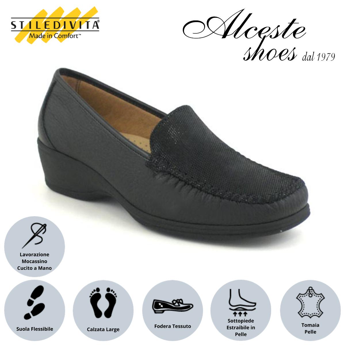 Mocassino Stiledivita Art. 2377 Pelle e Camoscio Stampato Nero Alceste Shoes Stile di vita estate 2019